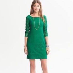 Banana Republic lace sheath dress in kelly green